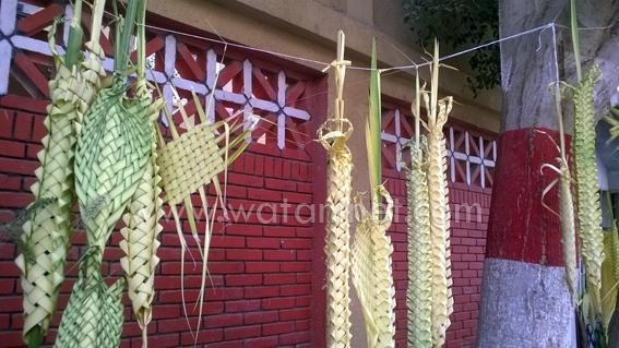 شوارع كنائس السويس تتزين بسعف النخيل واعواد القمح والورود  (1)